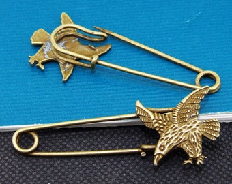 5pcs of Antique Bronze 6 Gledes Safety Pins Broochs  findings 21mmx56mm