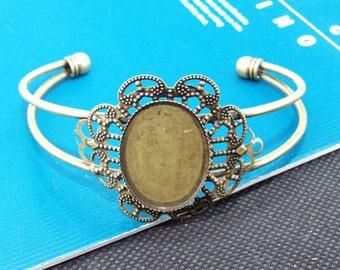 2pcs  Superb Bronze Filigree Carved Flower Bracelet Base  Findings Brangle
