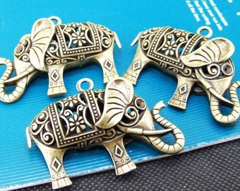 3PCS Setting Antique Bronze Base Pendants Double elephant Filigree Metal 35x50mm
