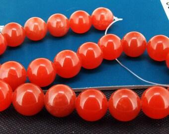 "Loose Gemstone Round Orange Jade 16mm gemstone  bead full one strand 15"""