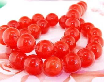 "Loose Gemstone Round Orange Jade 12mm gemstone  bead full one strand 15"""