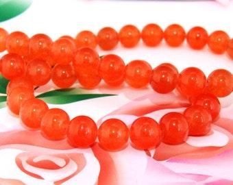 "Loose Gemstone Round Orange Jade 8mm gemstone  bead full one strand 15"""