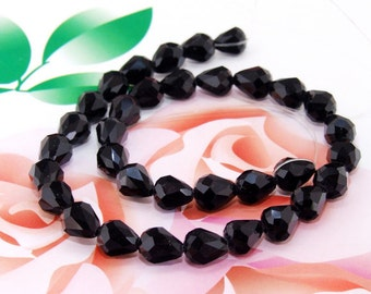 Lucky Shiny Faceted Teardrop Black Crystal Glass Crystal Gemstone Beads 34beads/strand