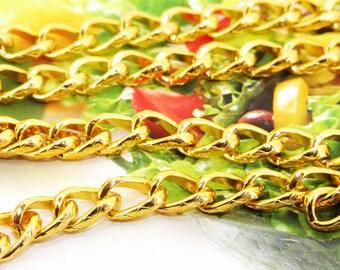 "Loop Twist Cut Plated Yellow Gold Chain 2mm loop 8mmx12mm---38"""