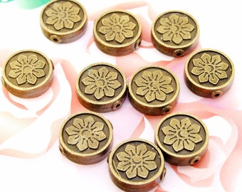 6Beads--- Charm Coin Flowers Bronze Plated Brass Filigree Findings Metal Balls Beads 5mmx16mm 3F