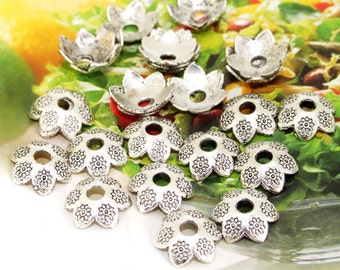 30 Beads--- Charm 6 Petals Cap Link  Beads Silver Plated Filigree Findings Metal Connector Link Beads 15mm 3H