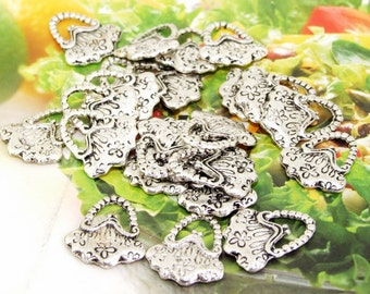 20 Beads--- Charm Flower Bags Bead Pendant  Link  Beads Silver Plated Filigree Findings Metal Connector Link Beads 14mmx16mm 3H