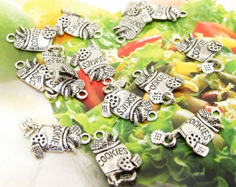 20 Beads--- Charm Cookies Pendant  Link  Beads Silver Plated Filigree Findings Metal Connector Link Beads 12mmx25mm 3H