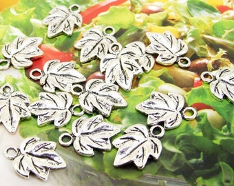 50 Beads--- Charm Leaf Pendant  Link  Beads Silver Plated Filigree Findings Metal Connector Link Beads 11mmx15mm 3H