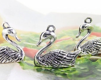 6 Beads--- Charm Swan  Pendant  Link  Beads Silver Plated Filigree Findings Metal Connector Link Beads 20mmx22mm 3L