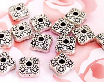 10Beads Lots Charm square flower beads metal  Fitting Beads Silver Plated Filigree Metal 10mm ------35D