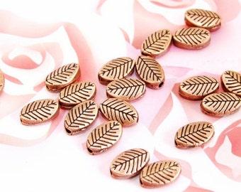 50PCS Leaf beads fitting Link Setting Antique Bronze Base  Filigree Metal 6mmx 10mm 3D