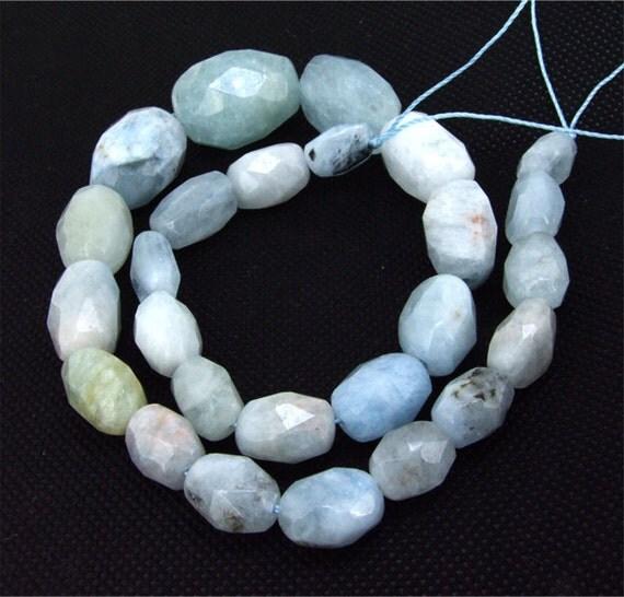 "Loose Gemstone full strands of 10-22mm Aquamarine faceted beads gemstone 16"""