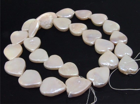 """Luster Loose Heart freshwater cultured Pearl beads FULL STRAND 15"""""""