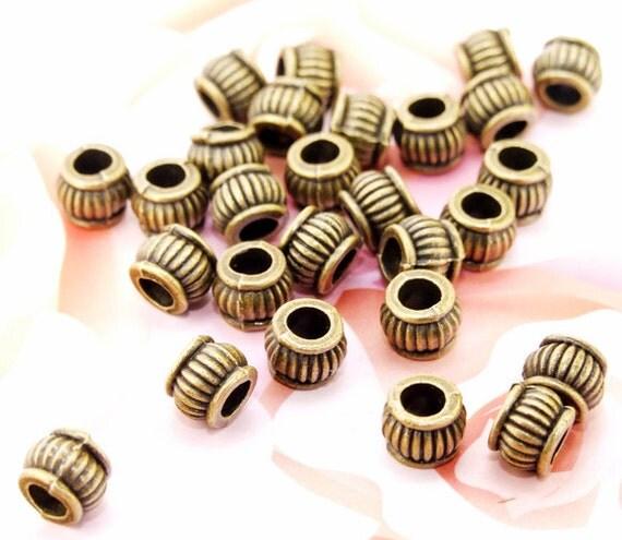 40Beads--- Charm Lantern Bronze Plated Brass Filigree Findings Metal Balls Beads 5mmx6mm 3F