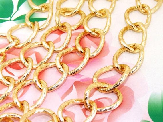 "10Chains Long Shiny Egg Twist Loop 18mm-22mm Plated Gold   Metal Aluminum Chain 3mm---38""x10"