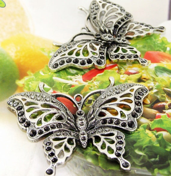 2 Beads--- Charm Big Butterfly Pendant  Base Link  Beads Silver Plated Filigree Findings Metal Connector Link Beads 48mmx62mm 3H