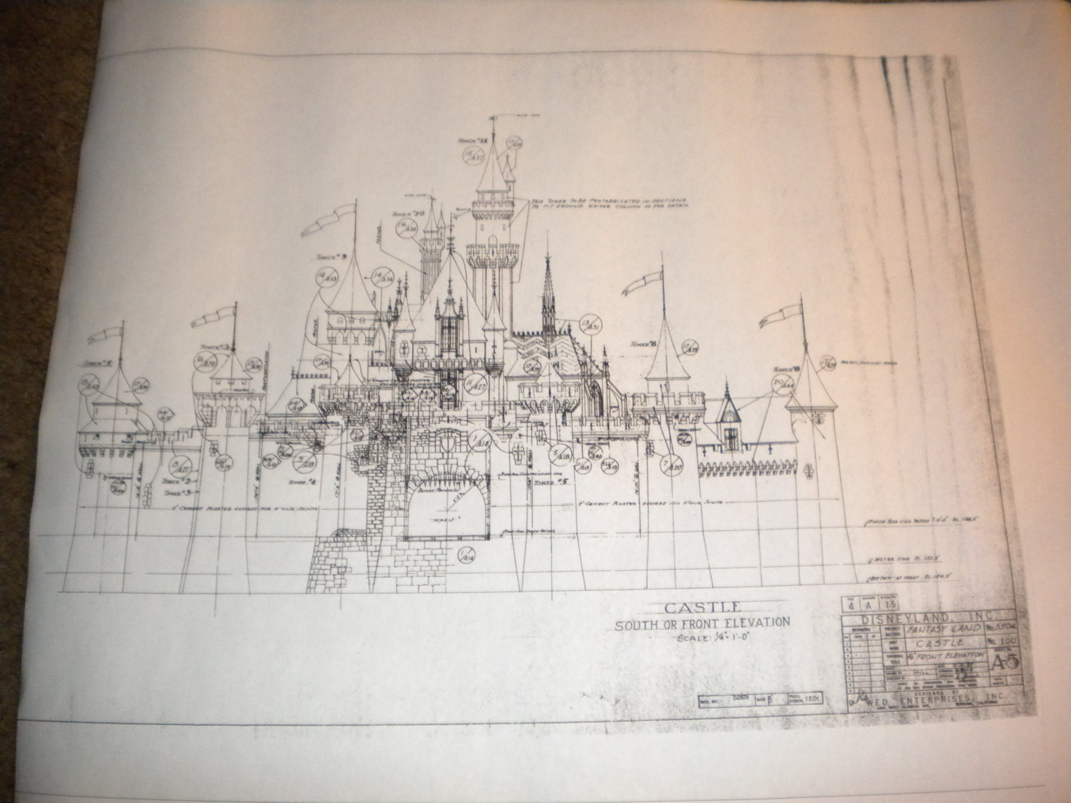 Vintage BLUEPRINT Copy of Sleeping Beauty CASTLE in