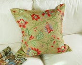 2 piece new 22x22 inch Sofa Pillow / Toss Pillow / Throw pillow case / Decorator Cushion Cover, medici green and red flowers, Free Shipping