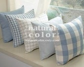 Pillow cover - five 18 inch sky blue set, throw pillow decorator cushion cover (solid /damier/pinstriped/pin check/white grid) FREE SHIPPING