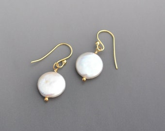Coin-Shaped Fresh Water Pearl Earrings - Wedding Jewelry -Bridesmaid Gift - Gold Filled