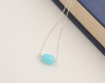 Sterling Silver necklace with Aqua Peruvian Opal - Bridesmaid gifts - Everyday - Delicate