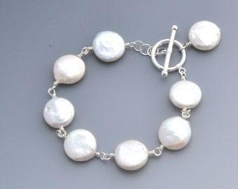 Top Quality Coin Fresh Water Pearl Bracelet  - Elegant - Bridal
