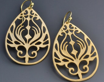 Gold Earrings - Dangle Earrings - Peacock Drop Earrings - Modern