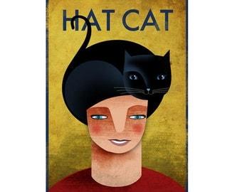 Hat Cat. Print poster 16,5 x 11,6 (A3)