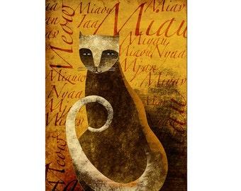 The polyglot cat. Print poster 16,5 x 11,6 (A3)