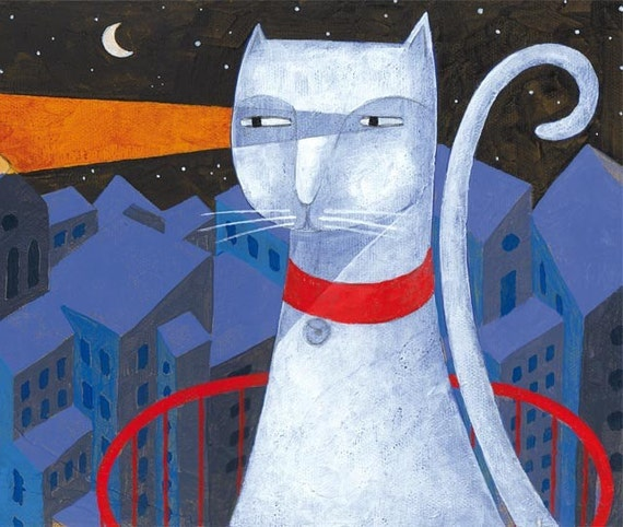 Limited edition The lighthouse cat. Print 4.7 x 15.5