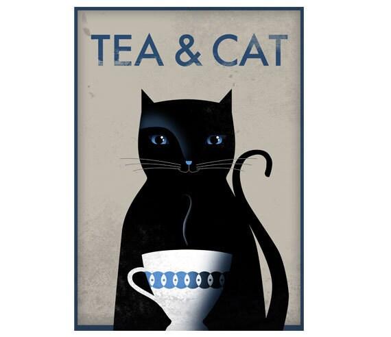 Tea & Cat. Print poster 16,5 x 11,6 (A3)