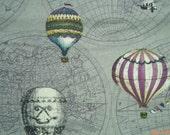 Hot air balloons, purple, fat quarter, pure cotton fabric
