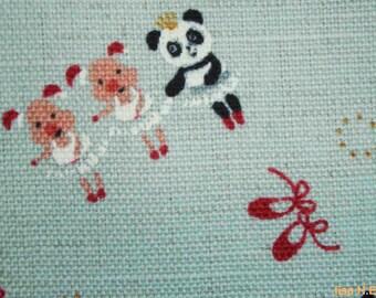 Panda and pig dancing, light blue, 1/2 yard, cotton linen blended fabric