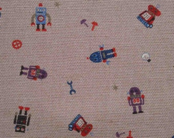 Robots and components, dusty purple, 1/2 yard, cotton linen blended fabric