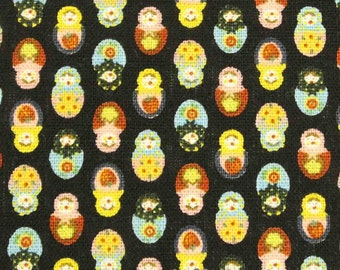 SALE - Matryoshka dolls, black, 1/2 yard, pure cotton fabric