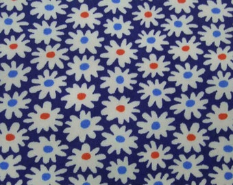 Daisy, navy blue, 1/2 yard, pure cotton fabric