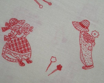 SALE - Sun Bonnet Sue and Overalls Sam, red, 1/2 yard, pure cotton fabric