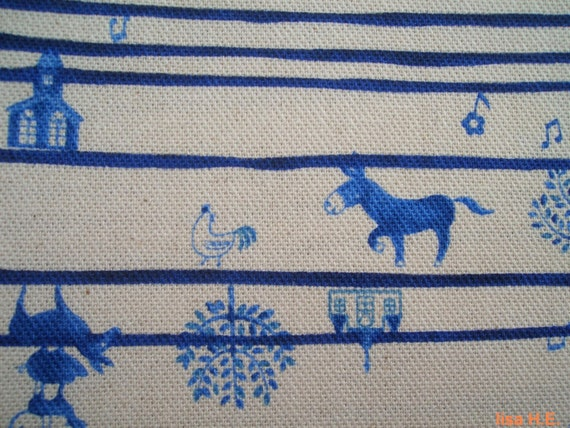 SALE - Blue donkey in farm, fat quarter, pure cotton fabric