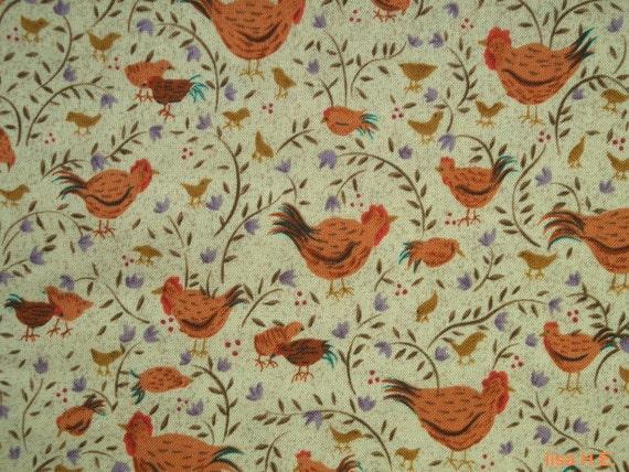 Rooster in orange, fat quarter, pure cotton fabric
