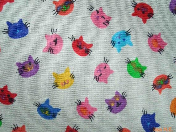 SALE - Happy cats in bright colors, fat quarter, pure cotton fabric