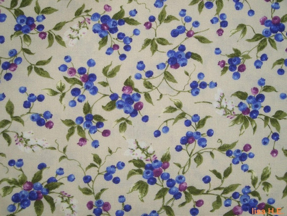 Reserved for Fri - Mini blueberries and flower buds, 1 yard, pure cotton fabric