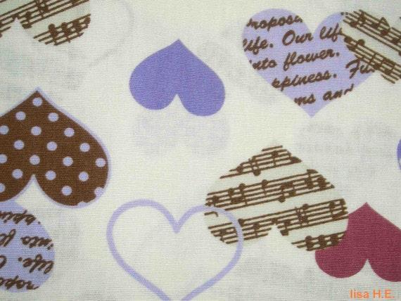 SALE - Music in lavender hearts, fat quarter, pure cotton fabric
