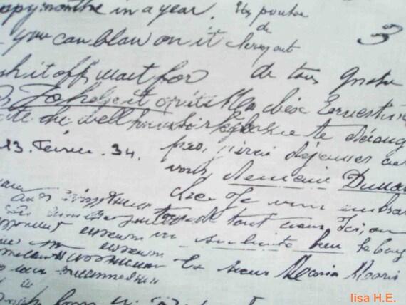SALE - Handwriting, on ivory, odd size, pure cotton fabric
