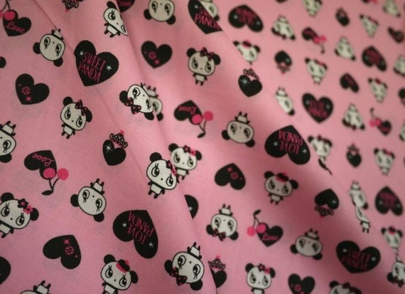 Love panda on pink, fat quarter, pure cotton fabric