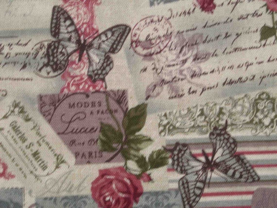 SALE - Gothic style butterflies and roses, gray, almost 1 yard, pure cotton fabric