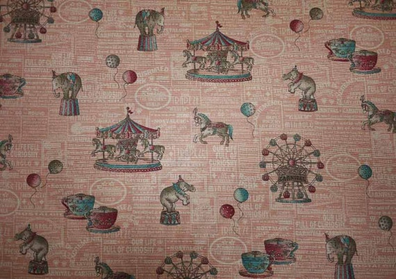 Merry go round, pink, fat quarter, cotton linen blended fabric