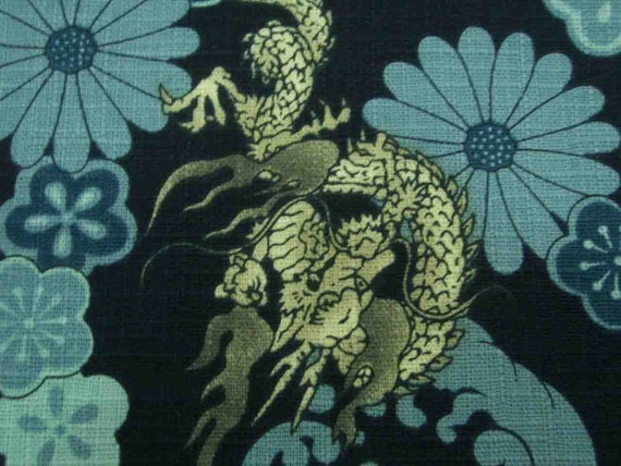 Chinese dragon, on navy blue, fat quarter, pure cotton fabric