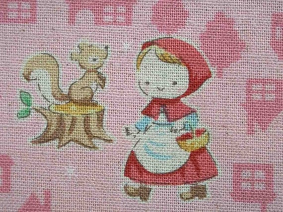Red Riding Hood, on pink, fat quarter, pure cotton fabric