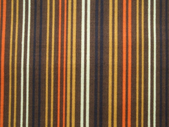 SALE - Stripes in mustard yellow, orange, pale lime, brown, and black, fat quarter, pure cotton fabric